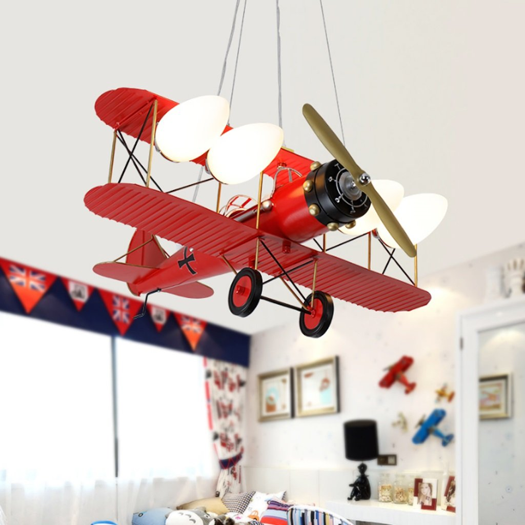 Vintage Children's Room Chandeliers, Boys Bedroom Airplane Light, Creative Decorative Cartoon Lights (3 Color Optional) ( Color : Red )
