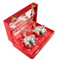 Silver plated handi tie bowl set traditional India wedding gifts for guests