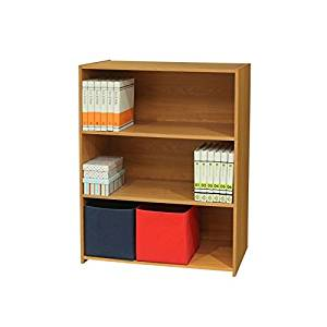 K and B Furniture Co Inc Light Brown Wood 3 Tier Bookcase