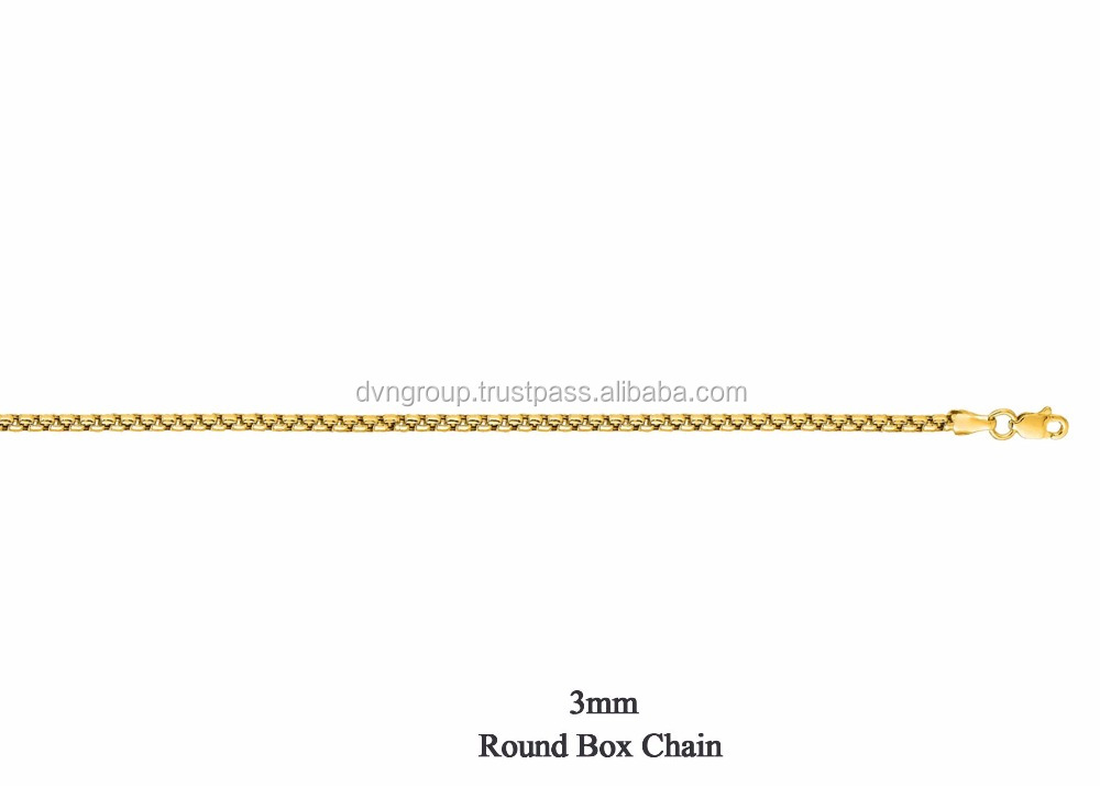 14 KT Gold Plated 3 MM Round Box Chain