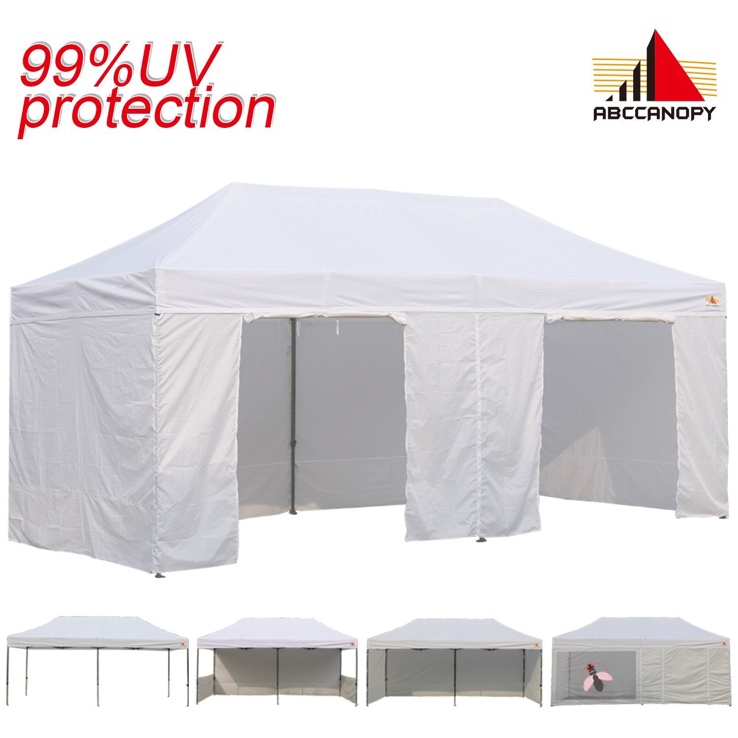 bae17bc4a24 AbcCanopy 10x20 EZ Pop up Canopy Tent Instant Shelter Commercial Portable  Market Canopy with Matching Sidewalls