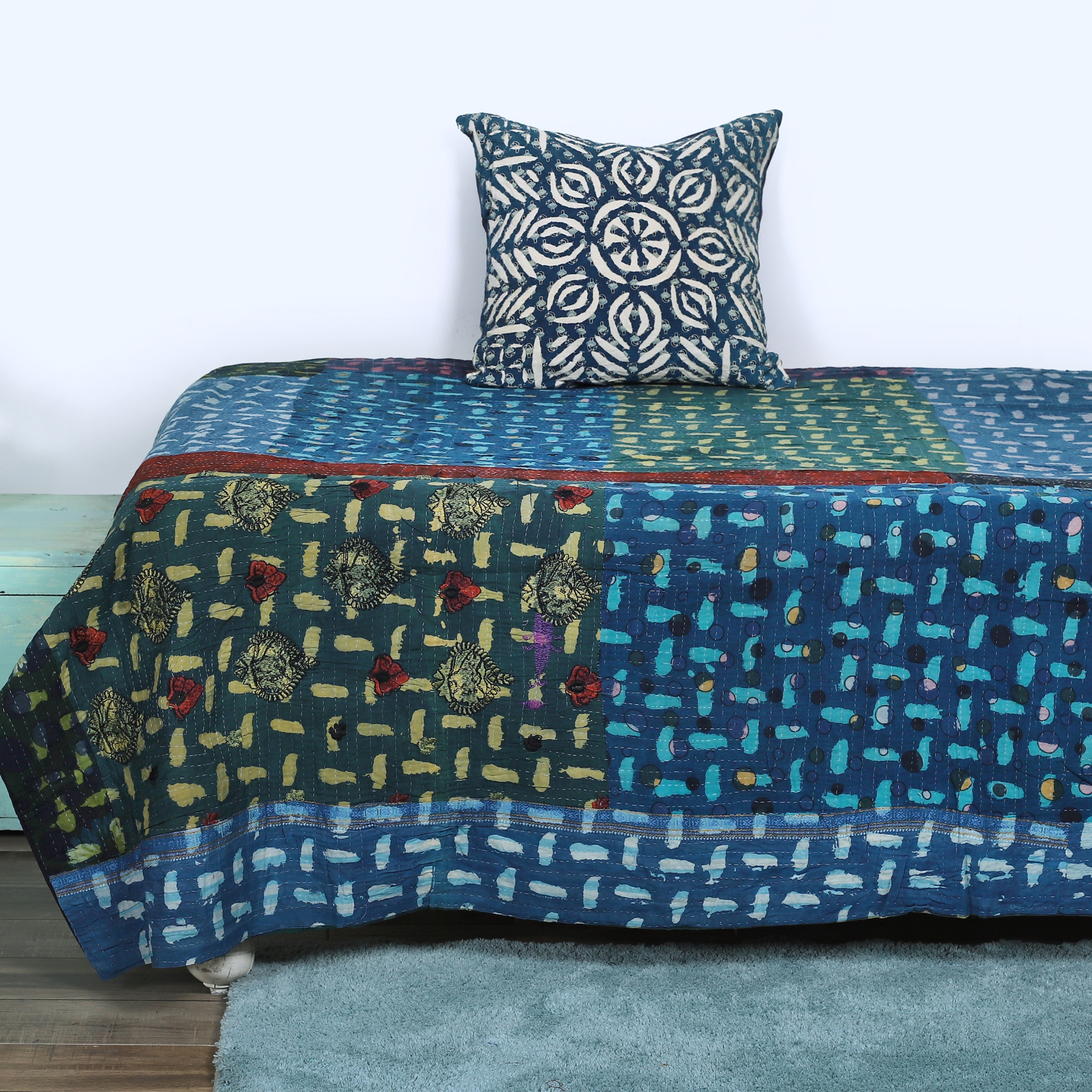 Bedspread Cotton Blanket Vintage Quilt Throw Ralli Gudari Handmade Kantha Quilt Meticulous Dyeing Processes Decorative Quilts & Bedspreads Home, Furniture & Diy
