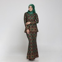 Oem Wholesales Muslim Blouse And Pants Melayu Women Baju Kurung Formal Blouse And Pants