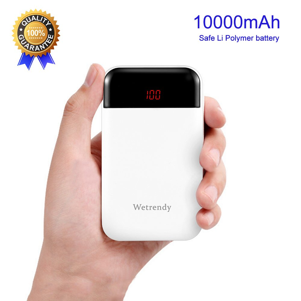 Portable Battery Charger 10000mAh,Mobile Phone Charger 2 Outputs Ultra Compact External Batteries Pack,Pocket-sized LCD Power Bank Fast Charging Speed Technology 2.4A for iPhone,Samsung Galaxy and Mor