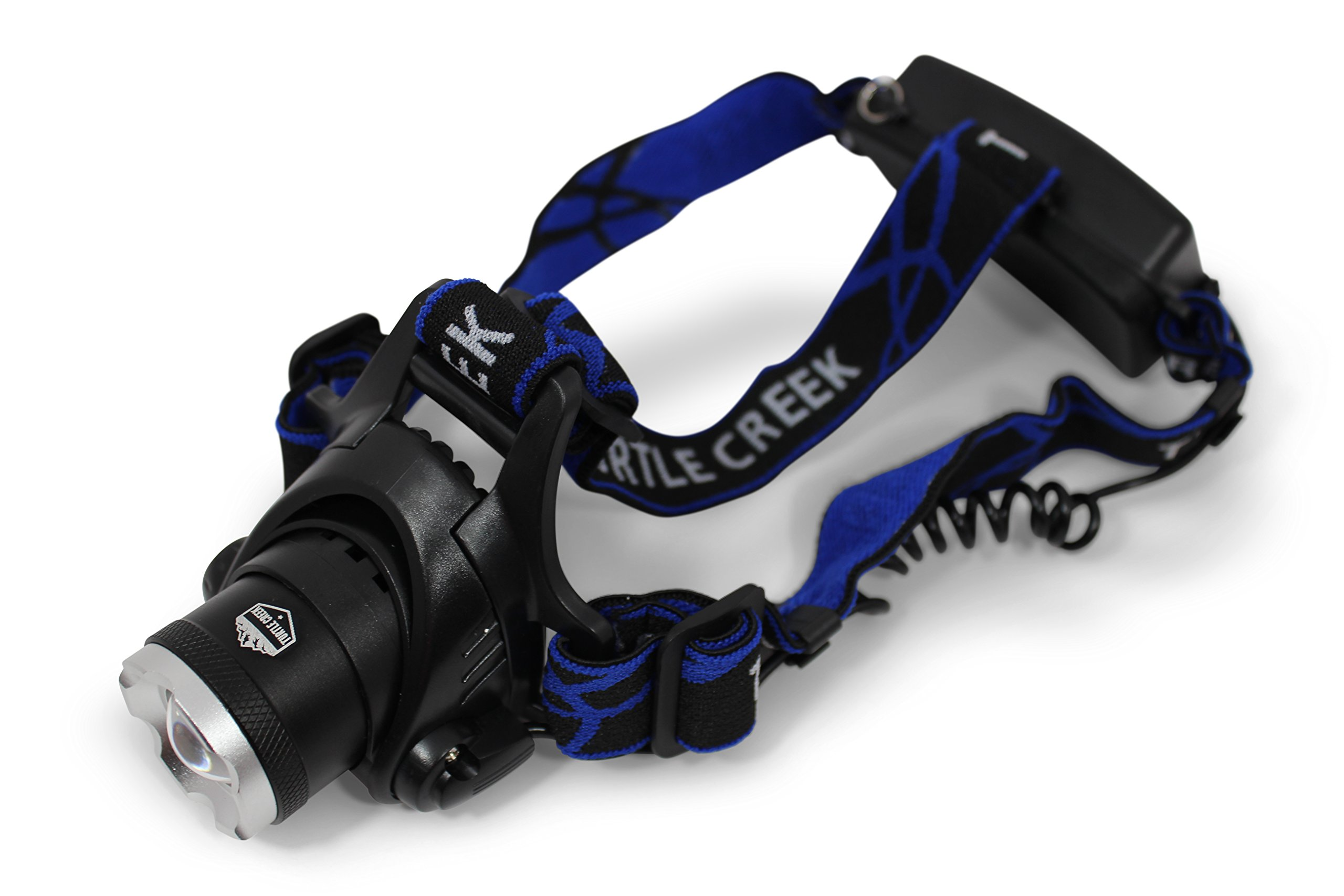 Turtle Creek LED Headlamp - Camping Headlamp - Best Tactical Headlamp - Durable Hiking Headlamp - Bright Fishing Headlamp and Hunting Headlamp - Cree LED with 18650 Batteries