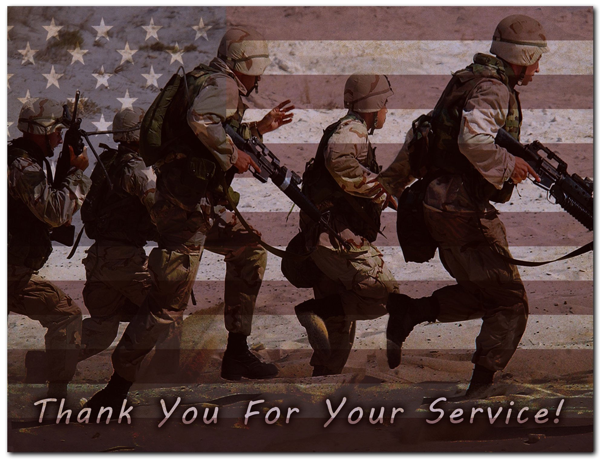 "Thank You For Your Service Cards - USA - American Flag - Patriotic - Military - Blank on the Inside - Includes Cards and Envelopes - 5.5"" x 4.25"" (12 Pack)"