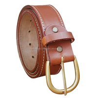 FULL GRAIN COW LEATHER TAN HANDMADE BELT FOR MENS, SOLID BRASS BUCKLE