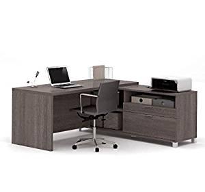 "Bestar L-Shaped Desk 71""W X 71""D X 29.75""H Features Utility Drawer File Drawer & Underside Shelf - Bark Gray"