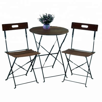 Leisure 3 Pcs Metal French Bistro Set Wood Pub Table And Chairs