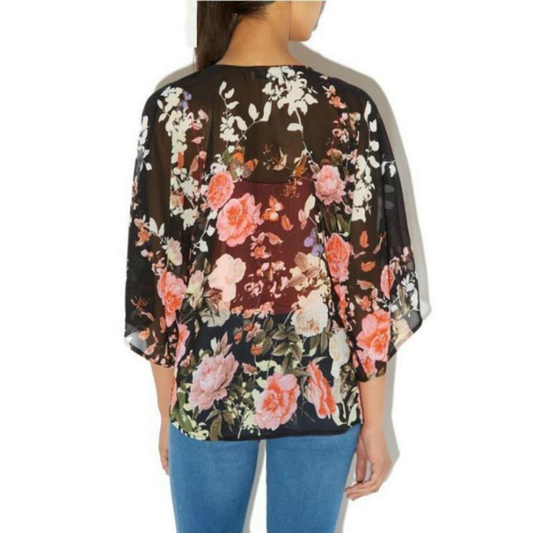 XILALU Women Geometry Printed Chiffon Shawl Kimono Cardigan Tops Cover up Blouse