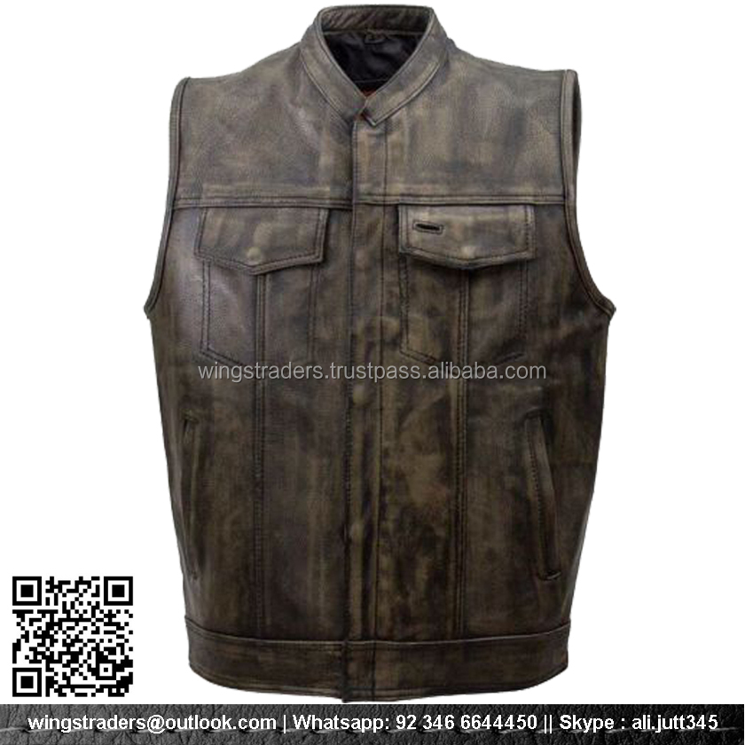 Parts & Accessories Son Of Anarchy Black Real Leather Handmade Motorcycle Biker Waistcoat Club Vest Modern Techniques
