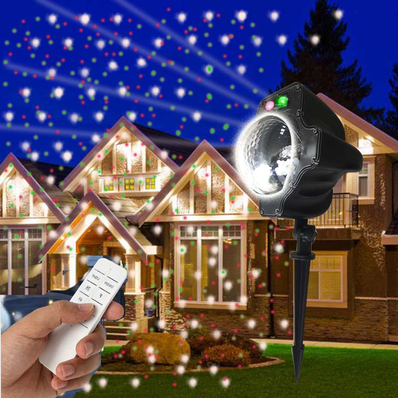 2017 the best selling christmas snowflake Multifuction Red Green snowfall laser led lights