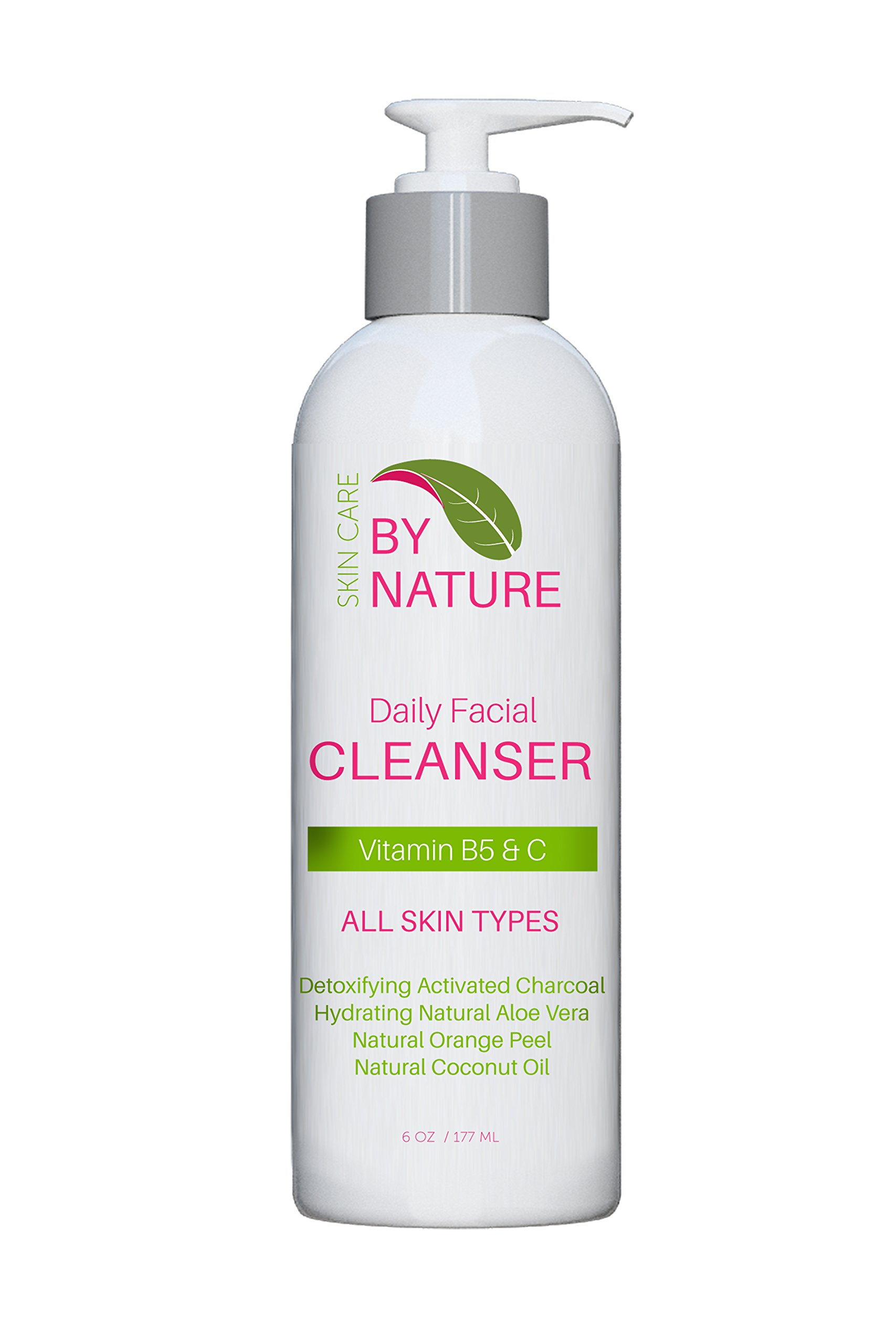 By Nature Organic Facial Cleanser - Activated Charcoal Natural Face Wash - Anti-Aging Face Wash For All Skin Types with Vitamin C, Green Tea, Aloe Vera and Vitamin B5 - 6OZ
