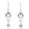 925 Solid Sterling Silver Natural Gemstones Sky Blue Topaz Dangle Earrings