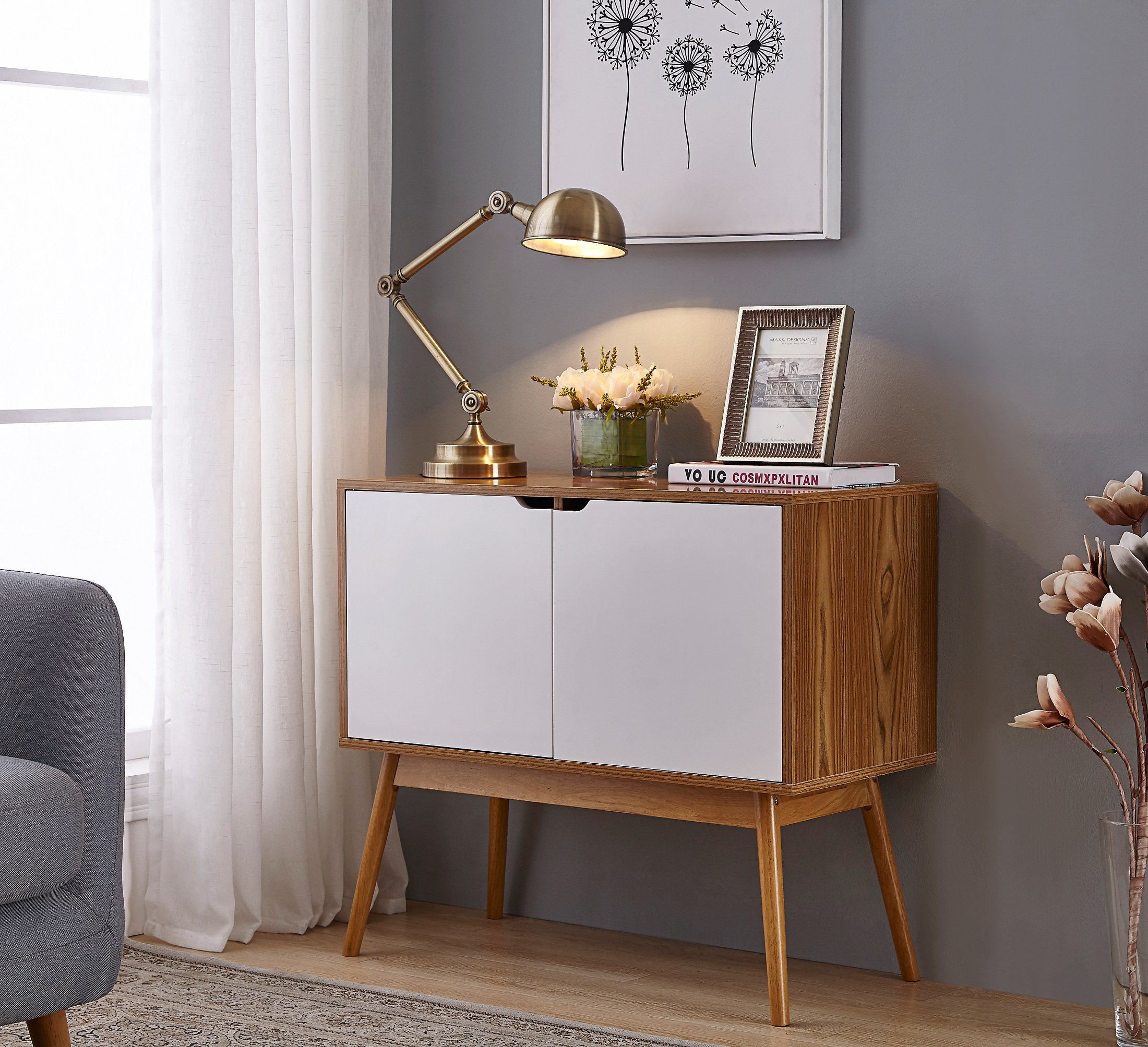 Get Quotations White Woodgrain Mid Century Style Console Sofa Table Storage Cabinet Sideboard With 2 Doors