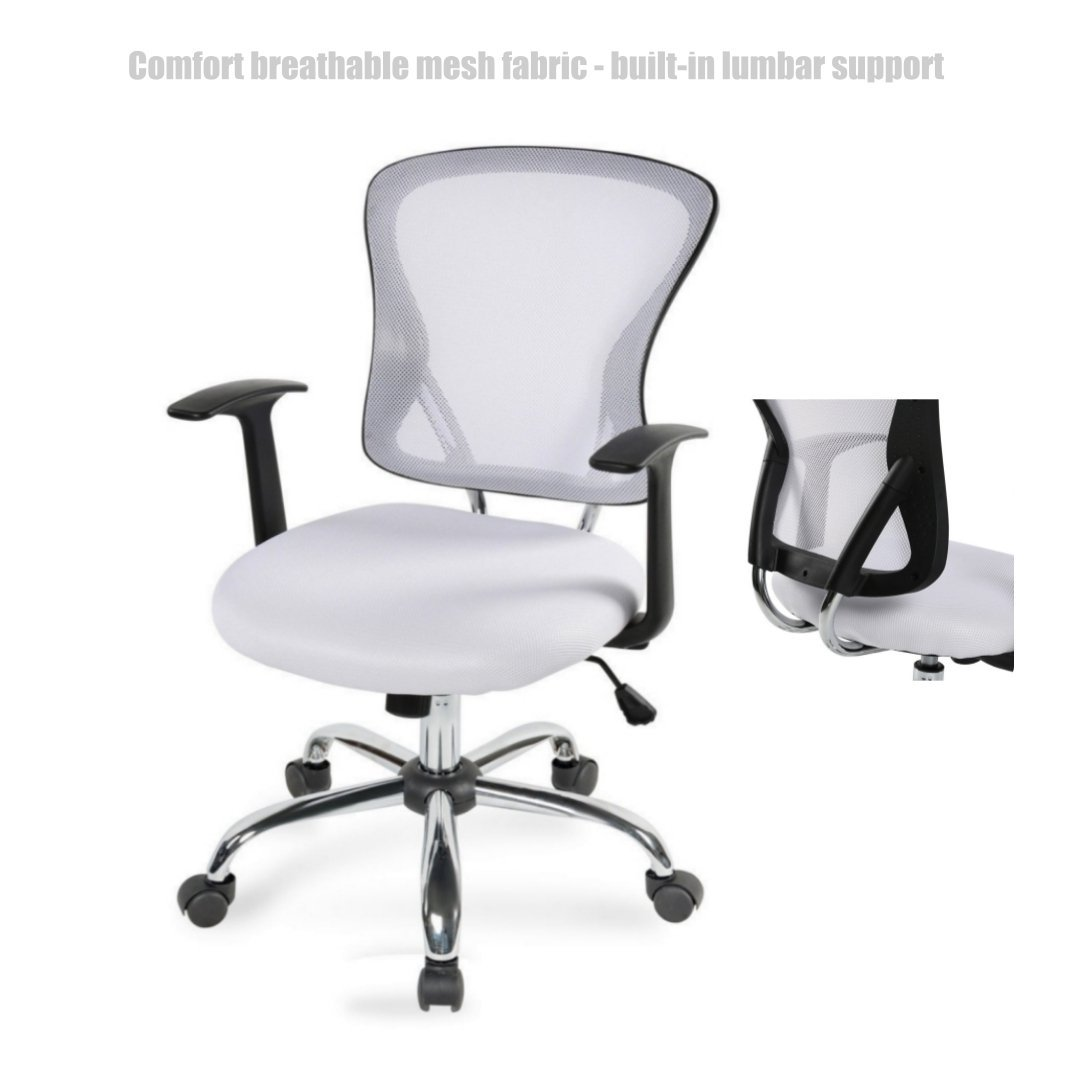 Modern Executive Desk Chair Mid Back Design Breathable Mesh Fabric Built-in Lumbar Backs Support Durable Dual-wheel Casters Ergonomic Office Chair - White #1469w