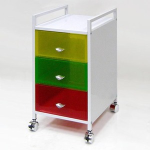 3 tier Colorful Plastic Wheel Hand Push Storage Cart