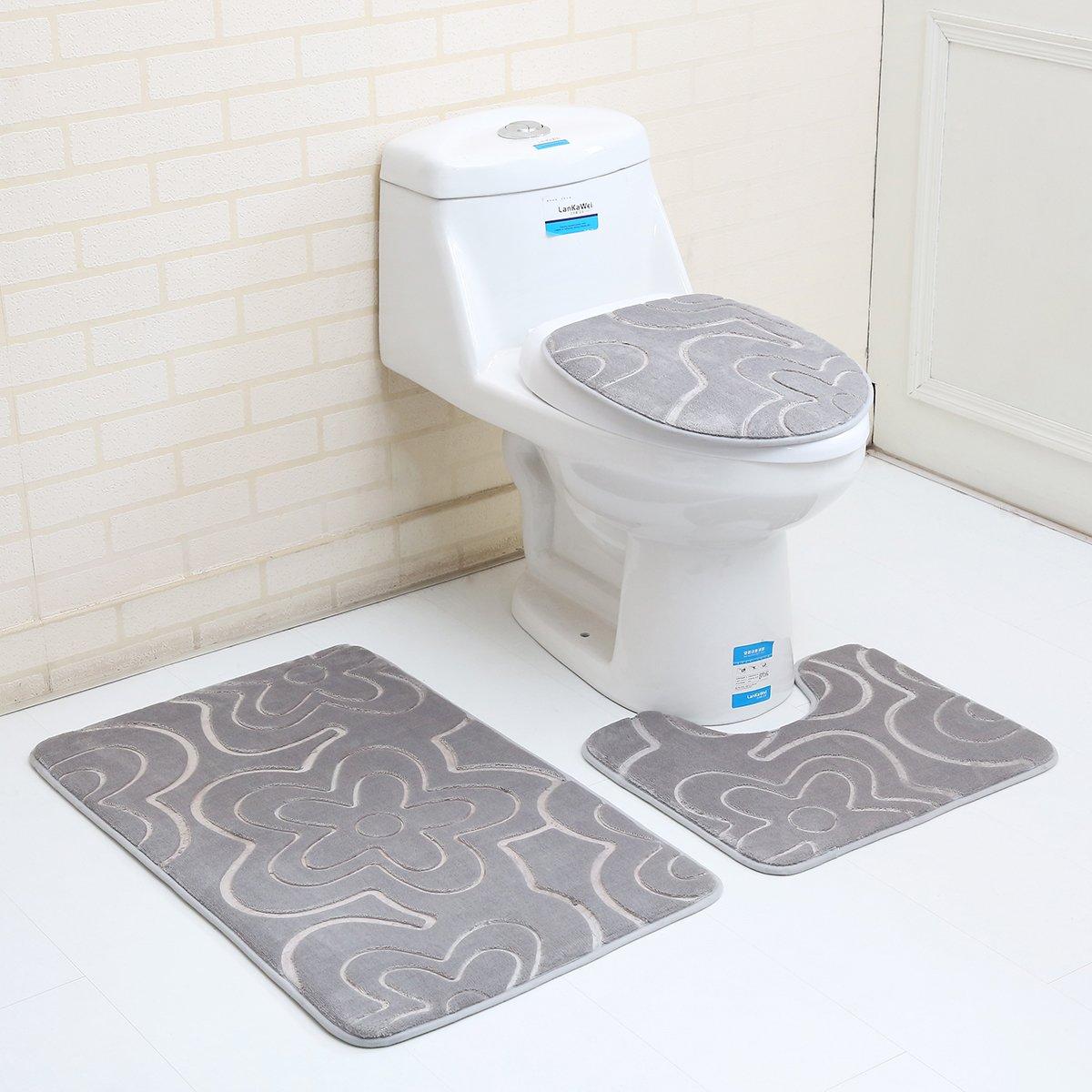 "3PC Bath Mat Rug Set Bathroom Non-Slip Floor Mat Flannel Pedestal Rug(15.7""x19.7"") + Lid Toilet Cover(15.7""x17.7"") + Bath Mat Makaor (19.7""x31.4"") (gray)"
