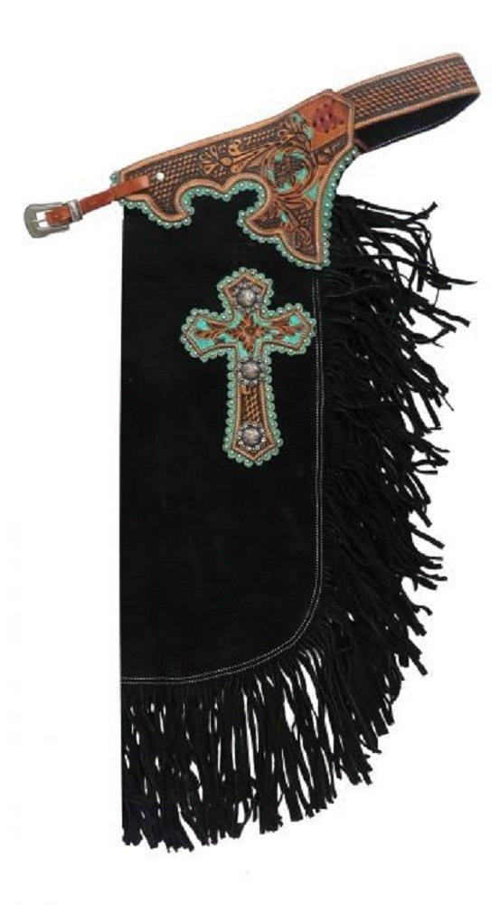 Showman MEDIUM Black Suede Leather Teal Cross Design Adjustable Chinks Floral Basket Tooled Leather Overlay