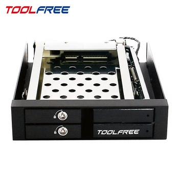 TOOLFREE di 2 Bay da 2.5 pollici mobile rack HDD Enclosure Trayless SATA/SAS 6G 7 ~ 9.5 millimetri SSD /HDD per il Server di Archiviazione di Alluminio