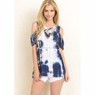 2018 Australian Cold Shoulder Tops For Women's Wear Rayon Tie Dye Tunic