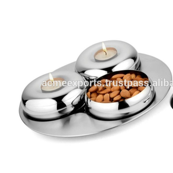 Table Top Dried Fruit Bowls In Stainless Steel Metal with Mirror Polished