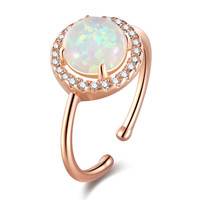 2018 hot sale christmas gifts Elegant Heart Opal Mom Rings Vintage Ring For Mom's Gift
