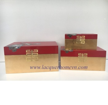 High quality Traditional Style Lacquer Box For Luxury Gift with Red Gold Color and Mother of Pearl Decor