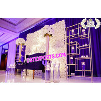 Asian Wedding Decor with Candle and Flower wall, Wedding Candle fitted Backdrop, Reception Stage Backdrop Decoration