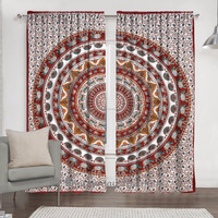Indian Mandala Curtain Bohemian Modern Door Window Valance Tulle Voile Bedroom Sheer 2 Drapes Panel