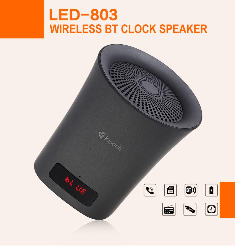 Đồng hồ báo thức giá rẻ Loa màn hình LED kỹ thuật số Hiển thị Báo động Loa không dây Loa USB / FM / BT