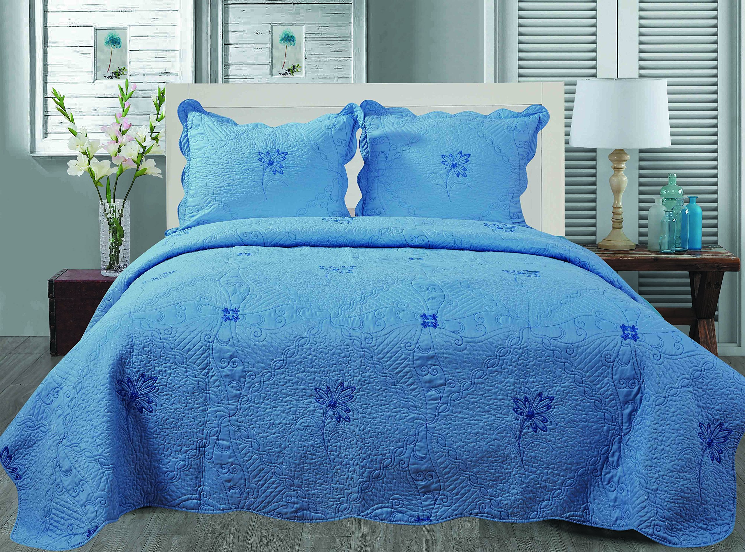 Get Quotations Embroidery All Season Solid Color 3pcs Quilts Set Bedspreads Bed Coverlets Cover Sets King Size 100