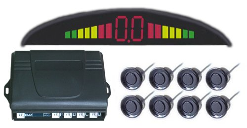 Parking Reverse Backup Radar System,car parking system,Car LED Parking sensor system with 8 sensors(front 4/ rear 4), LED rader ,Alarm by English speech