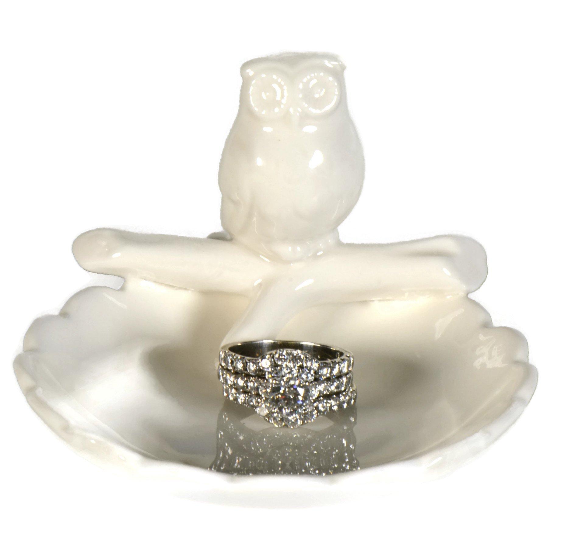 box glass christmas ornament 699 owl ring holder dish cute white ceramic engagement wedding ring holder measures 325wx225hx375d - Christmas Ornament Ring Box