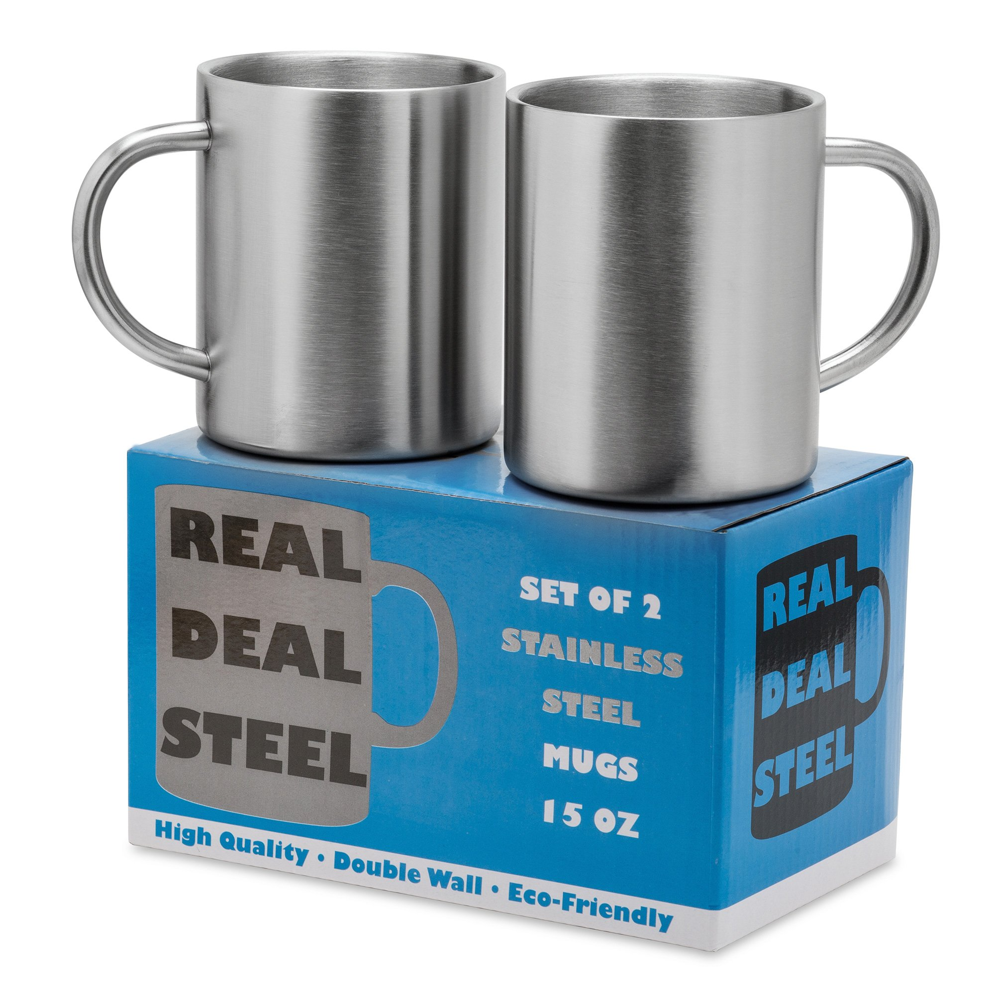 Stainless Steel Double Walled Mugs: 100% BPA Free,15 oz Metal Coffee & Tea Cup Mug - Insulated Cups with Handles Keep Drinks Hot or Cold Longer - Durable & Rust Proof - Set of 2 Shatter Proof Mugs