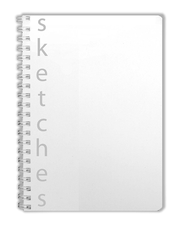 "BookFactory SketchBook / Art Sketch Book / Sketching Book / Sketches Book / Sketch Notebook - 100 Pages, Clear Translux Cover, Wire-O, 5"" x 7"" (12.7cm x 17.7cm), Blank Format (BLA-100-57BW-C-SKETCH)"