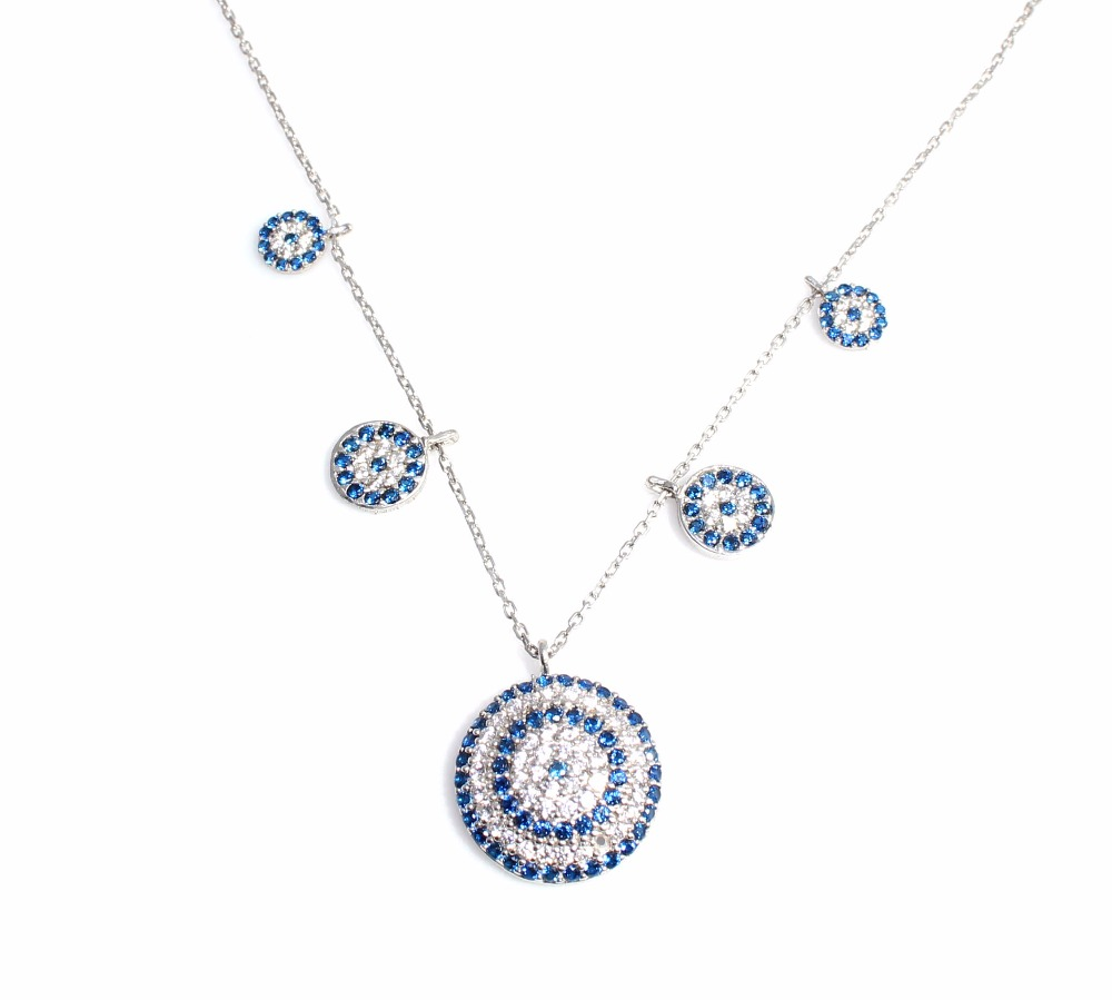 925 Sterling Silver Turkish Evil Eye Necklace, wholesale