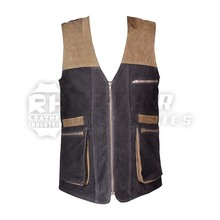2018 Hot Sale Custom New Designs Outdoor Hunting Shooting Men's Multi Box Pockets Nuback Real Leather Vest & Waistcoat