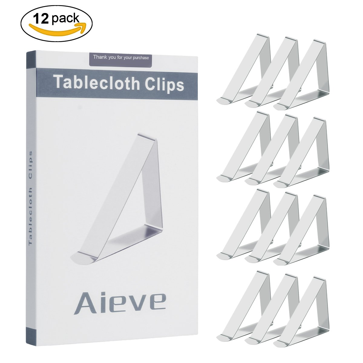 AIEVE Tablecloth Clips,12 Pack Stainless Steel Picnic Table Clips Table Cover Clamps Table Cloth Holders for Picnic Tables Outdoor Wedding Restaurant,Silver