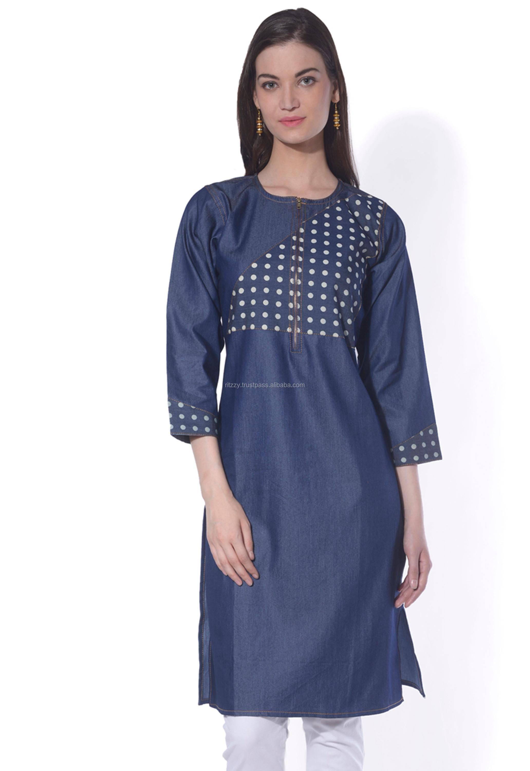 Cotton Denim Top Kurta
