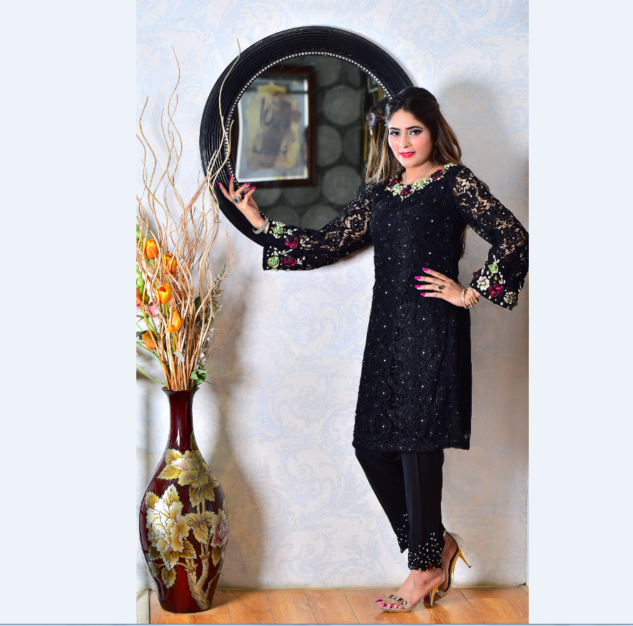 67c6559c4c Exclusive & Trandy Indian/Pakistan Shalwar Kameez Black Qureshia 3d flower  work with embellishment