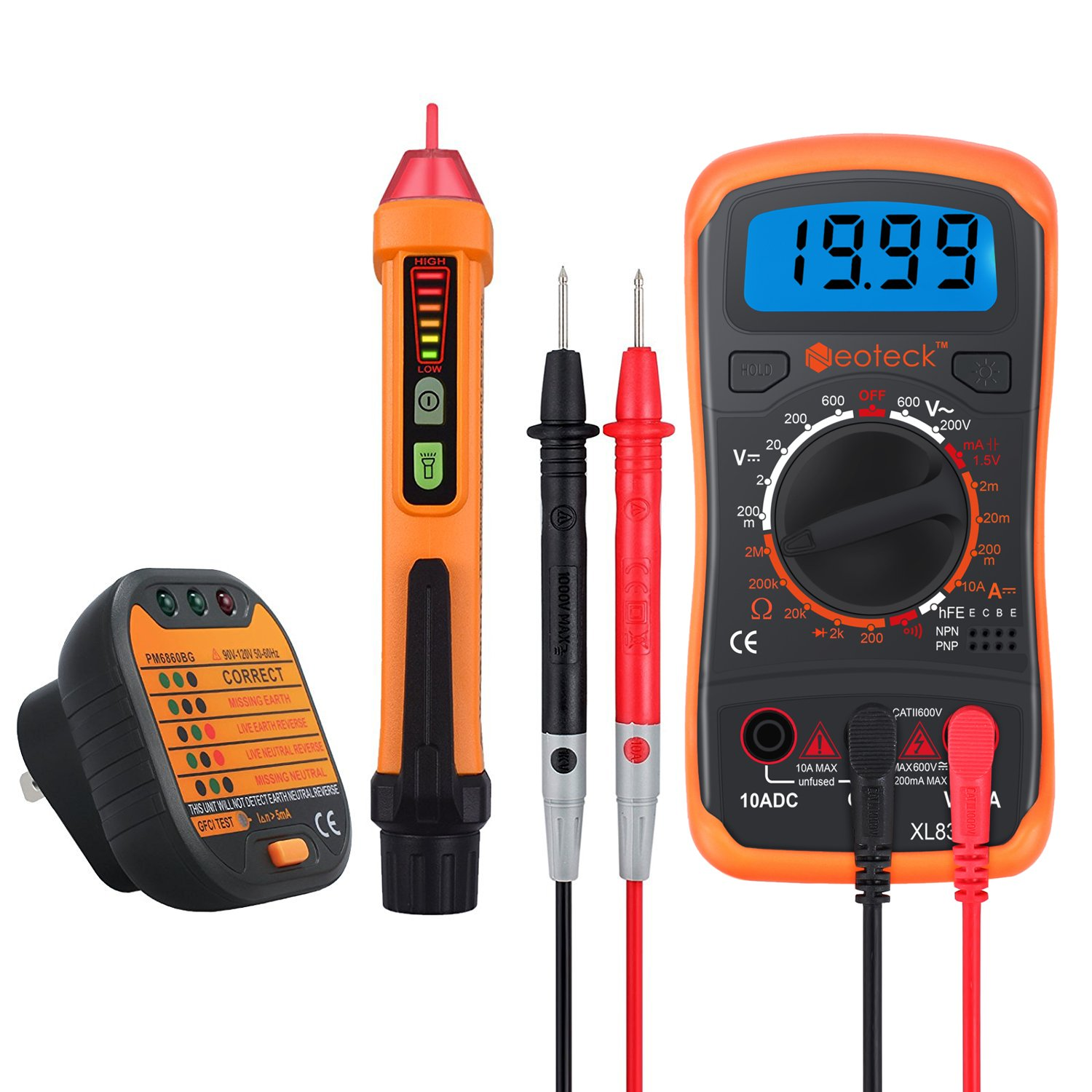Cheap Test Voltage Multimeter Find Deals On Noncontact Ac 600v Detector Electrical Circuit Wire Tester Get Quotations Neoteck Kit Includes Mini 1999 Count Digital Non Contact 12 1000v