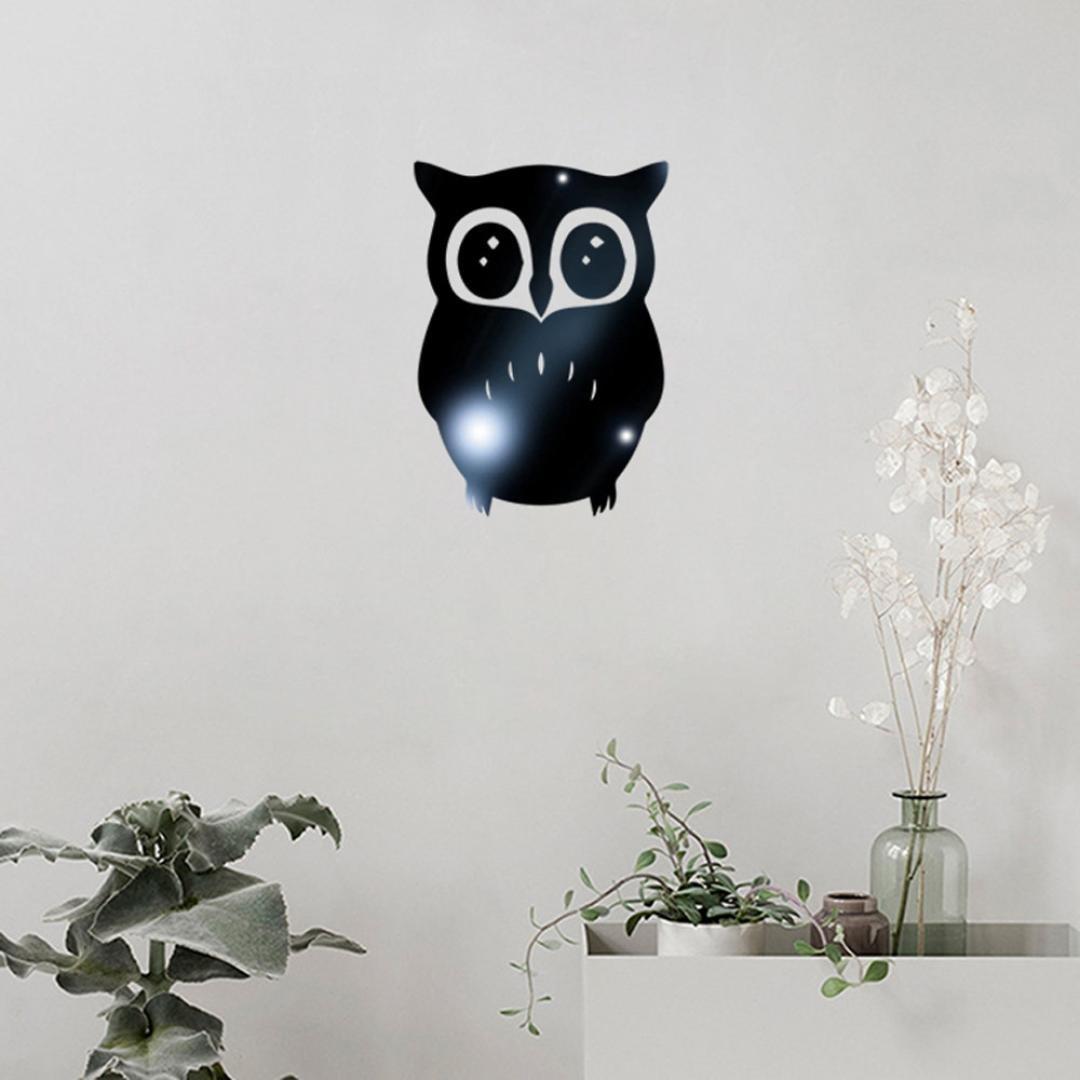 Rumas 3D Owl Mirror Vinyl Removable Wall Sticker Decal Home Decor Art (Black)