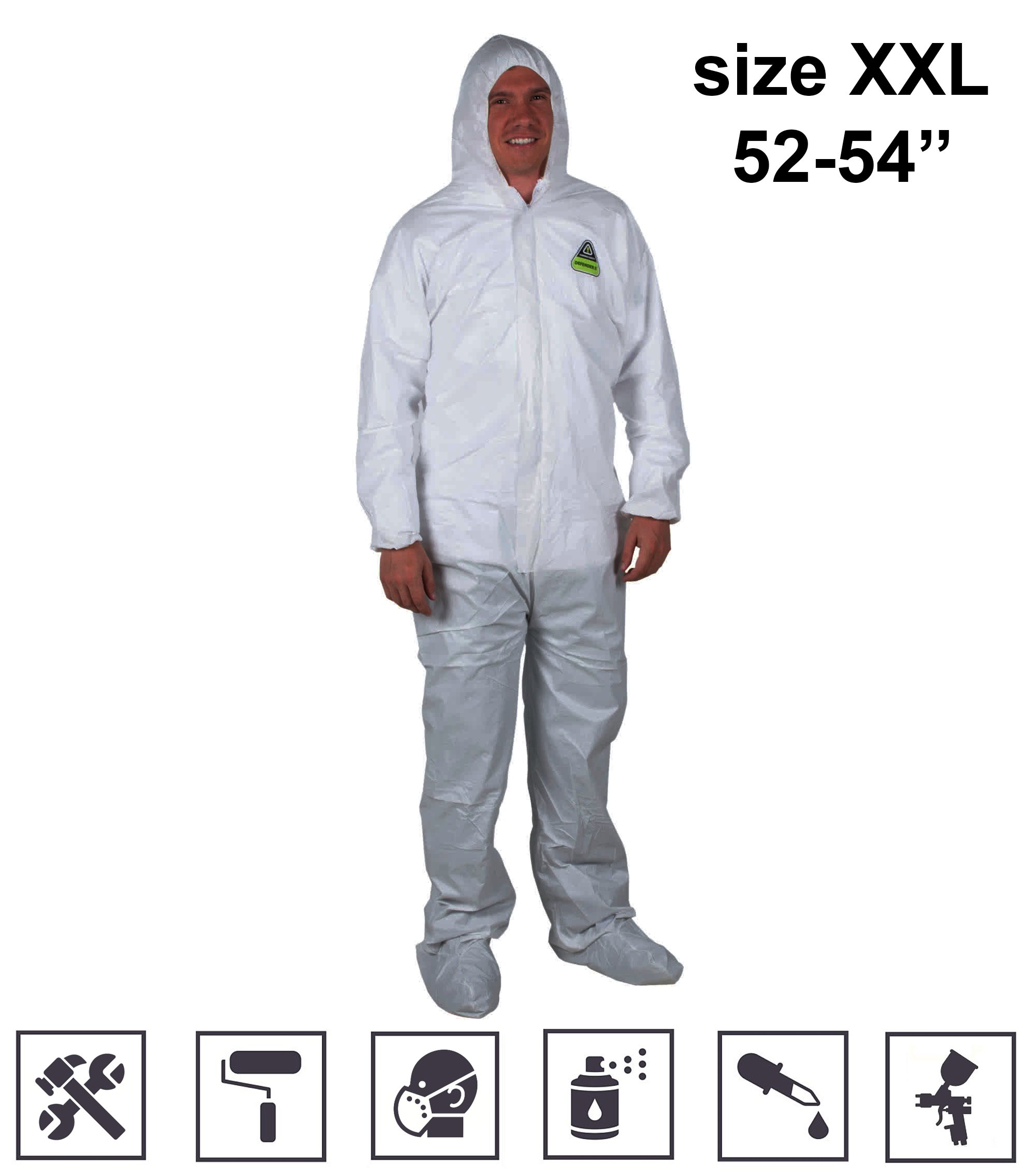 7f57b9b040d5d Get Quotations · White Disposable Full Body Coveralls For Men with Front  Zipper insulated coveralls with hood Anti-