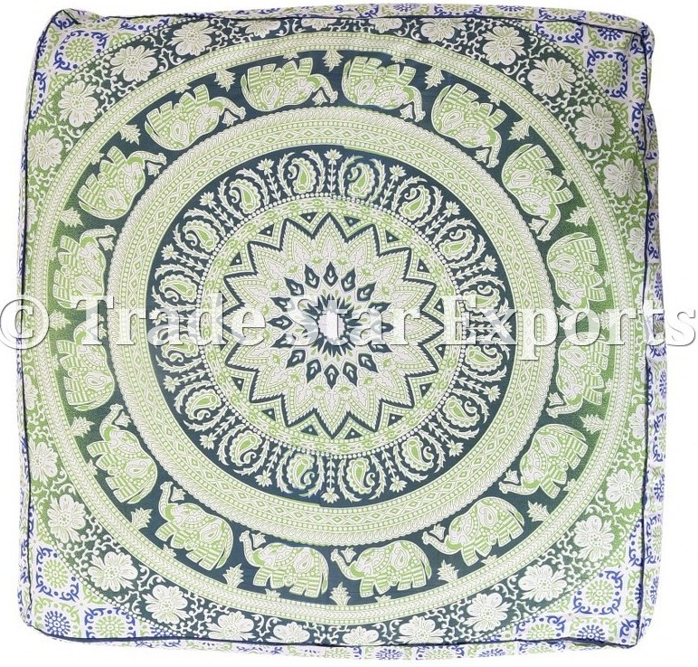Mandala Elephant Tapestry Meditation Cushion Cover Pet Bed Luxury Floor Pillow Case