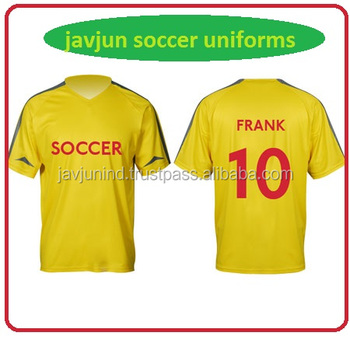 1887ddf9f Personalized Plain Yellow Color Breathable Soccer Football Jersey  Uniforms Wholesale Quick Dry Soccer Kit