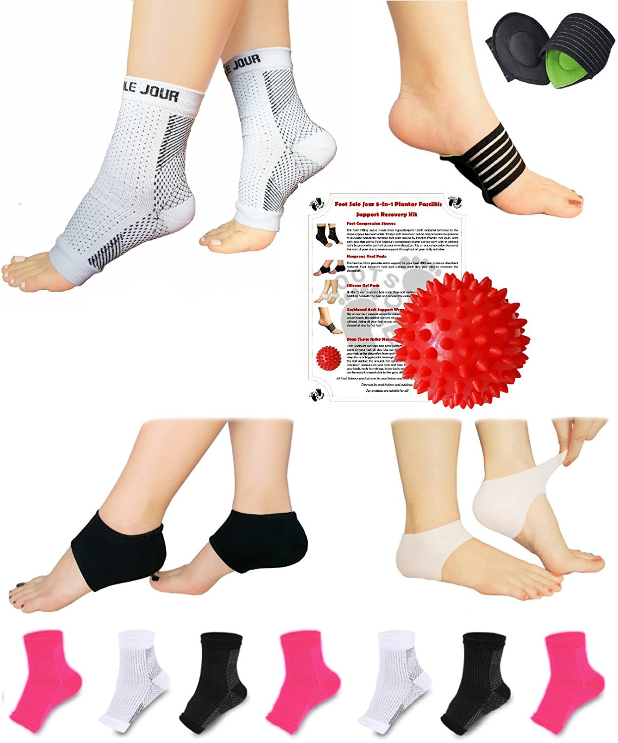 32d87677c7 FOOT SOLE JOUR NEW Plantar Fasciitis Pain Relief Recovery Kit - Foot  Compression Sleeve, Heel