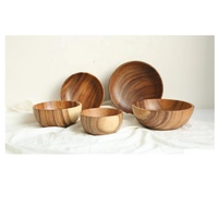 High quality top seller acacia Wood salad bowl large - Children's Wood Bowl handmade form Viet nam