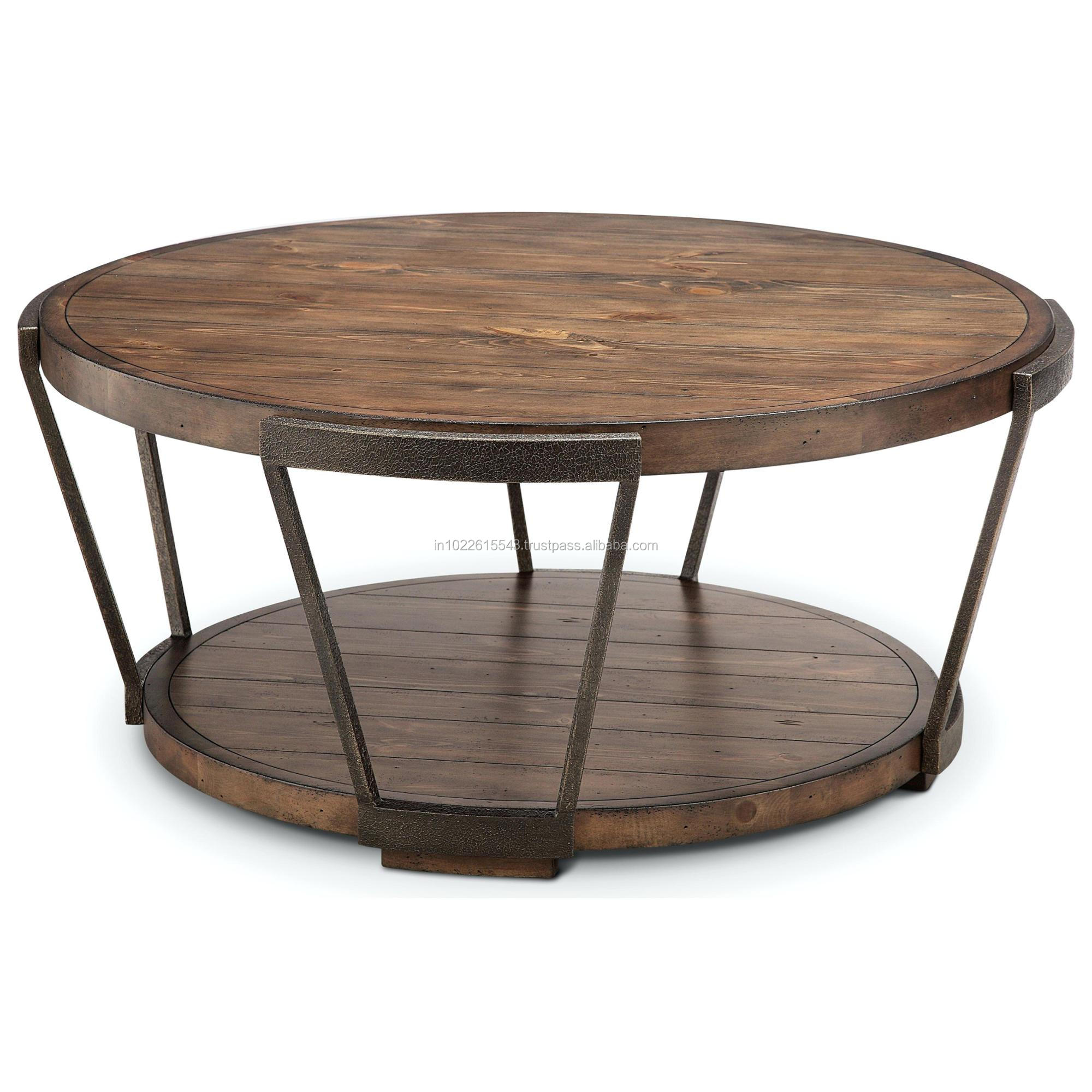 Vintage Metal Coffee Table Center Reclaimed Wood Round
