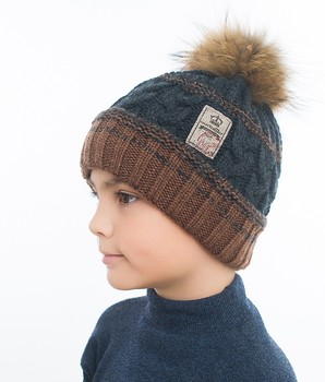 Marhatter - Boy hat with a pom-pom natural raccoon